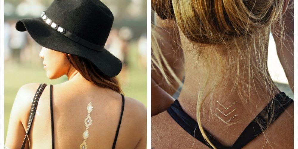 Trend: Gouden of zilveren nep tattoo's.